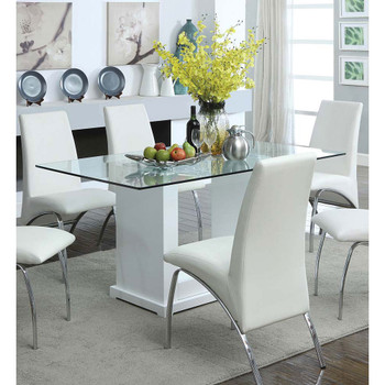 Furniture of America IDF-3917T Jarvis Contemporary Glass Top Dining Table