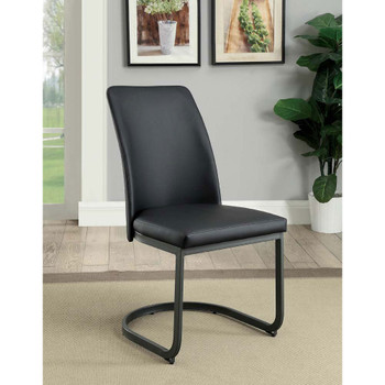 Furniture of America IDF-3918SC Monte Transitional Faux Leather Upholstered Side Chairs (Set of 2)
