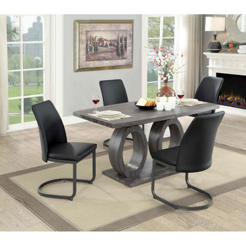 Furniture of America IDF-3918T Monte Transitional Pedestal Dining Table
