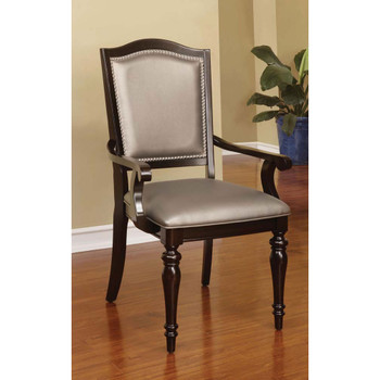 Furniture of America IDF-3970AC Harry Transitional Faux Leather Padded Arm Chairs (Set of 2)