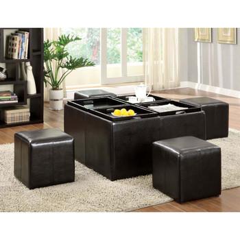 Furniture of America IDF-4046 Quyhn Contemporary Tray Top Ottoman