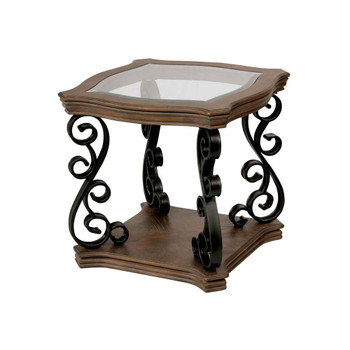Furniture of America IDF-4184E Decall Traditional Open Shelf End Table