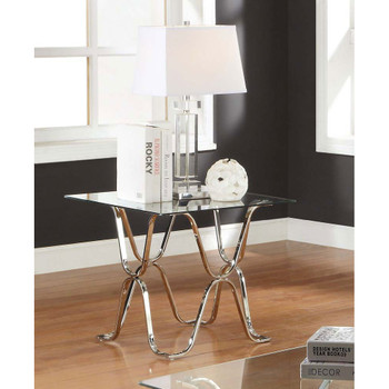 Furniture of America IDF-4229E Madorra Contemporary Glass Top End Table