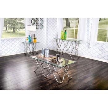 Furniture of America IDF-4229S Madorra Contemporary Glass Top Sofa Table