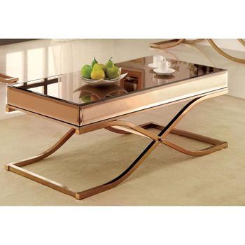 Furniture of America IDF-4230C Lorrisa Contemporary Glass Top Coffee Table in Brass