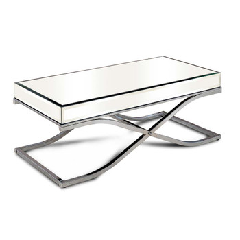 Furniture of America IDF-4230CRM-C Lorrisa Contemporary Glass Top Coffee Table in Chrome
