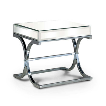 Furniture of America IDF-4230CRM-E Lorrisa Contemporary Glass Top End Table in Chrome
