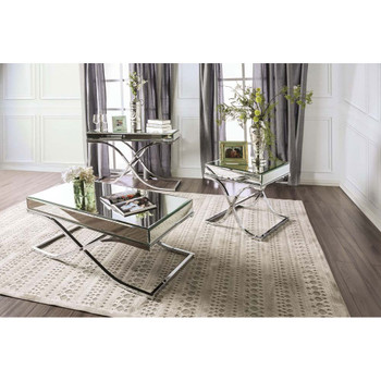 Furniture of America IDF-4230CRM-S Lorrisa Contemporary Glass Top Sofa Table in Chrome