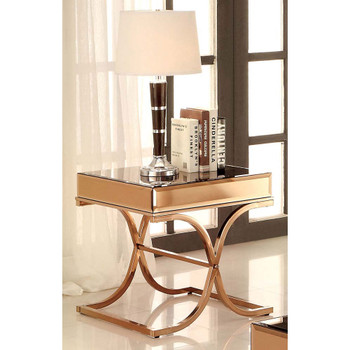 Furniture of America IDF-4230E Lorrisa Contemporary Glass Top End Table in Brass