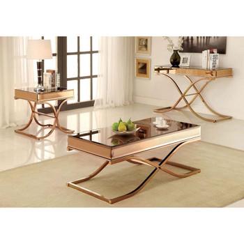 Furniture of America IDF-4230S Lorrisa Contemporary Glass Top Sofa Table in Brass
