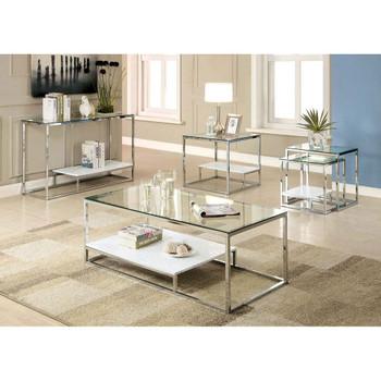 Furniture of America IDF-4231WH-C Aldea Contemporary Glass Top Coffee Table