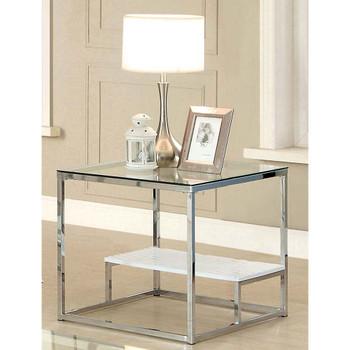 Furniture of America IDF-4231WH-E Aldea Contemporary Glass Top End Table