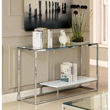 Furniture of America IDF-4231WH-S Aldea Contemporary Glass Top Sofa Table