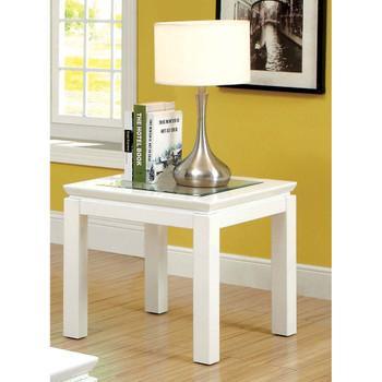 Furniture of America IDF-4238WH-E Clariton Contemporary Square End Table