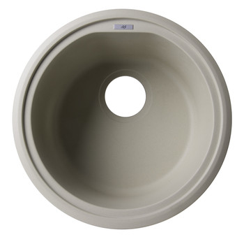 "ALFI brand AB1717UM-B Biscuit 17"" Undermount Round Granite Composite Kitchen Prep Sink"