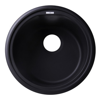"ALFI brand AB1717UM-BLA Black 17"" Undermount Round Granite Composite Kitchen Prep Sink"