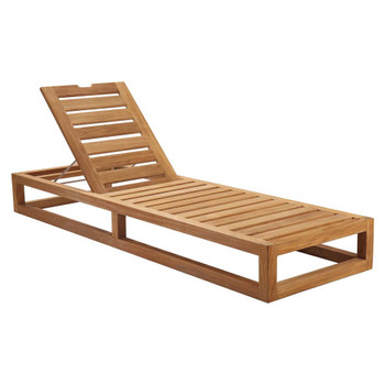 Modway EEI-5534 Newbury Outdoor Patio Premium Grade A Teak Wood Lounge Chair
