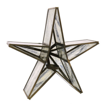 GLASS STAR CANDLE HOLDER, MIRRORED - SM - BRASS