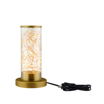 Adore Cylindrical-Shaped Clear Glass And Brass Table Lamp EEI-2931