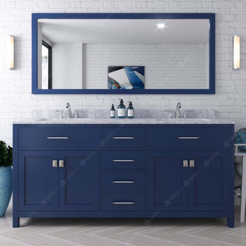 Virtu USA MD-2072-WMSQ-FB-001 Caroline 72 Inch Double Square Sink White Top Vanity in French Blue with Brushed Nickel Faucet and Mirror