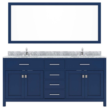 Virtu USA MD-2072-WMSQ-FB-002 Caroline 72 Inch Double Square Sink White Top Vanity in French Blue with Polished Chrome Faucet and Mirror