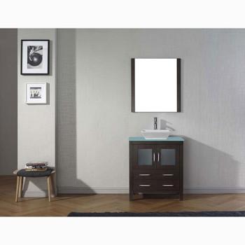 Virtu USA KS-70030-G-ES Dior 30 Inch Single Square Sink Aqua Top Vanity in Espresso