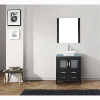 Virtu USA KS-70030-G-ZG Dior 30 Inch Single Square Sink Aqua Top Vanity in Zebra Gray