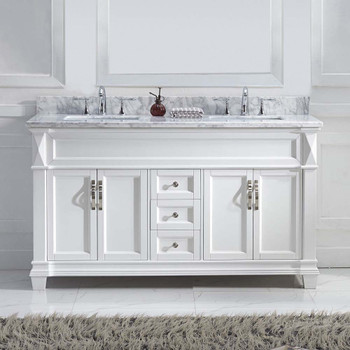 """Virtu USA MD-2660-WMSQ-WH-NM Victoria 60"""" Double Bath Vanity in White with Marble Top and Square Sink"""