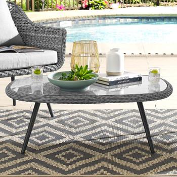 Endeavor Outdoor Patio Wicker Rattan Coffee Table EEI-3026-GRY Gray