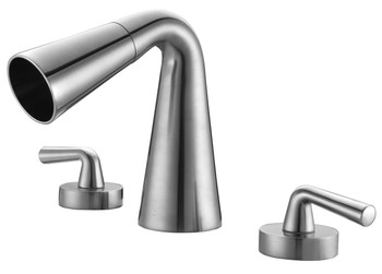 ALFI brand AB1790-BN Brushed Nickel Widespread Cone Waterfall Bathroom Faucet