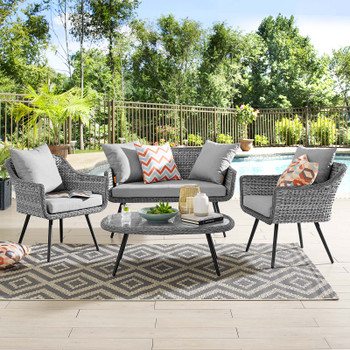 Endeavor 4 Piece Outdoor Patio Wicker Rattan Loveseat Armchair and Coffee Table Set EEI-3177-GRY-GRY-SET Gray Gray