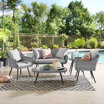 Endeavor 5 Piece Outdoor Patio Wicker Rattan Loveseat Armchair Coffee Table and Side Table Set EEI-3178-GRY-GRY-SET Gray Gray