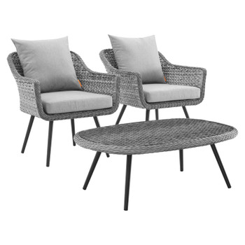 Endeavor 3 Piece Outdoor Patio Wicker Rattan Armchair and Coffee Table Set EEI-3179-GRY-GRY-SET Gray Gray