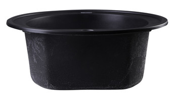 "ALFI brand AB2020DI-BLA Black 20"" Drop-In Round Granite Composite Kitchen Prep Sink"