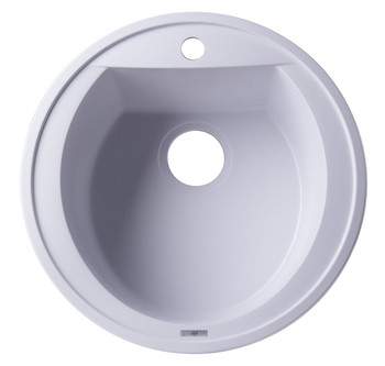 "ALFI brand AB2020DI-W White 20"" Drop-In Round Granite Composite Kitchen Prep Sink"
