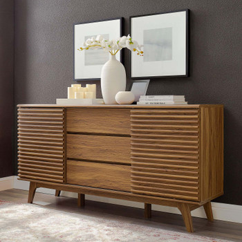"Render 63"" Sideboard Buffet Table or TV Stand EEI-3344-WAL Walnut"