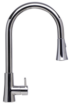 ALFI brand AB2034-PSS Solid Polished Stainless Steel Pull Down Single Hole Kitchen Faucet