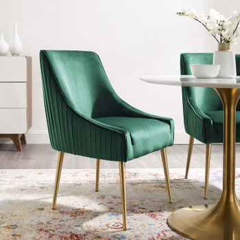 Discern Pleated Back Upholstered Performance Velvet Dining Chair EEI-3509-GRN Green
