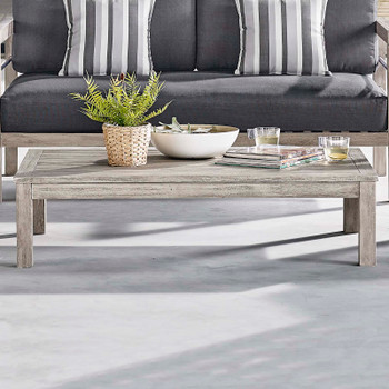 Wiscasset Outdoor Patio Acacia Wood Coffee Table EEI-3685-LGR Light Gray
