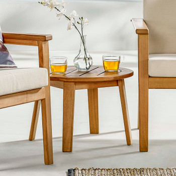 Vero Ash Wood Outdoor Patio Side End Table EEI-3707-NAT Natural