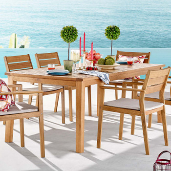 """Viewscape 83"""" Outdoor Patio Ash Wood Dining Table EEI-3709-NAT Natural"""