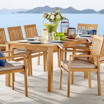 "Farmstay 79"" Outdoor Patio Teak Wood Dining Table EEI-3717-NAT Natural"
