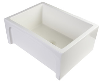 """ALFI brand AB2418ARCH-B  24"""" Biscuit Arched Apron Thick Wall Fireclay Single Bowl Farm Sink"""