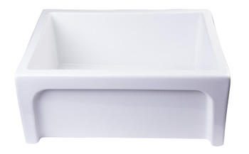 "ALFI brand AB2418ARCH-W  24"" White Arched Apron Thick Wall Fireclay Single Bowl Farm Sink"