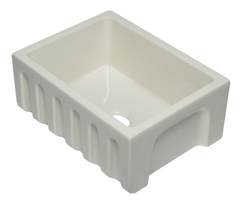 ALFI brand AB2418HS-B 24 inch Biscuit Reversible Smooth / Fluted Single Bowl Fireclay Farm Sink