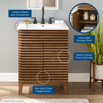 Render Bathroom Vanity EEI-3860-WAL-WHI Walnut White