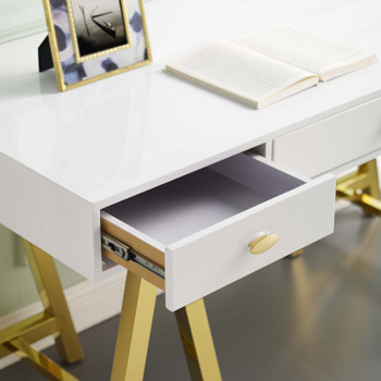 Jettison Office Desk EEI-3861-GLD-WHI Gold White