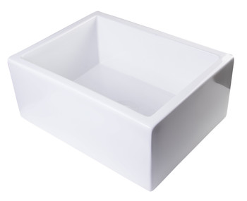 "ALFI brand AB2418SB-W  24"" White Smooth Thick Wall Fireclay Single Bowl Farm Sink"