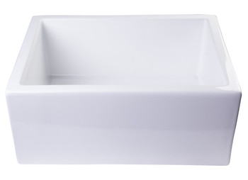 "ALFI brand AB2418SB-W  24"" White Smooth Thick Wall Fireclay Single Bowl Farm Sink"