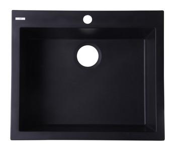 """ALFI brand AB2420DI-BLA Black 24"""" Drop-In Single Bowl Granite Composite Kitchen Sink"""